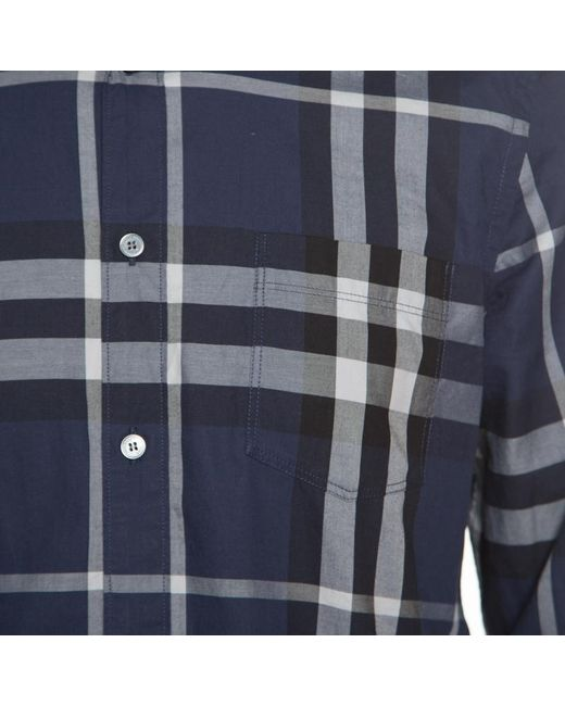 70148c8dc646 ... Burberry - Blue Brit Checked Long Sleeve Button Down Shirt M for Men -  Lyst ...