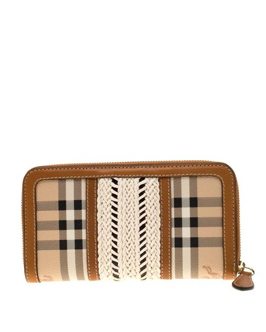 Burberry Natural Beige/brown House Check Pvc And Leather Zip Around Wallet