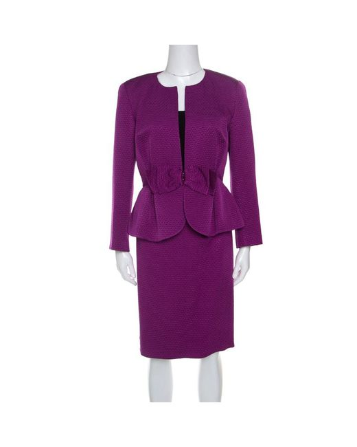 CH by Carolina Herrera - Purple Jacquard Bow Detail Skirt Suit M - Lyst