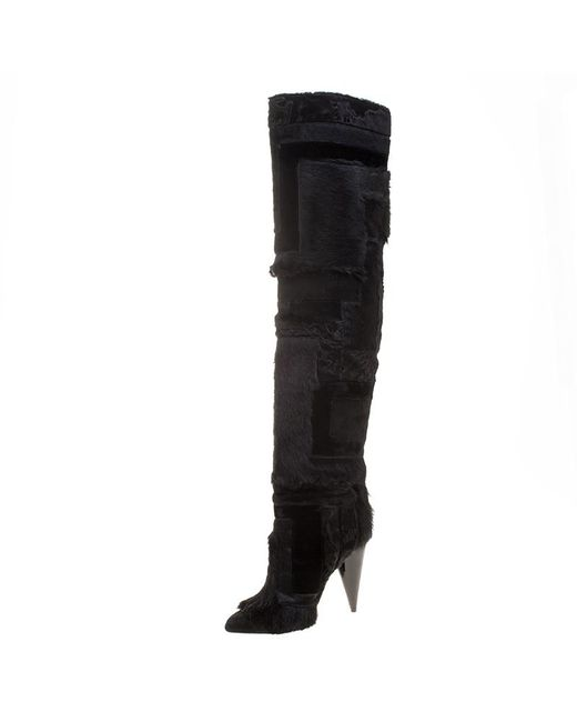 Tom Ford - Black Geometric Patchwork Fur And Suede Over The Knee Boots Size 38.5 - Lyst