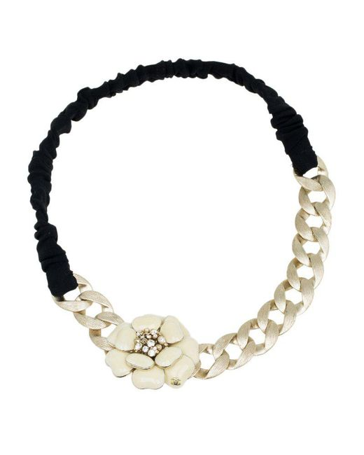 Chanel - White Enamel Camellia Chain Headband - Lyst ... f7441e8d150