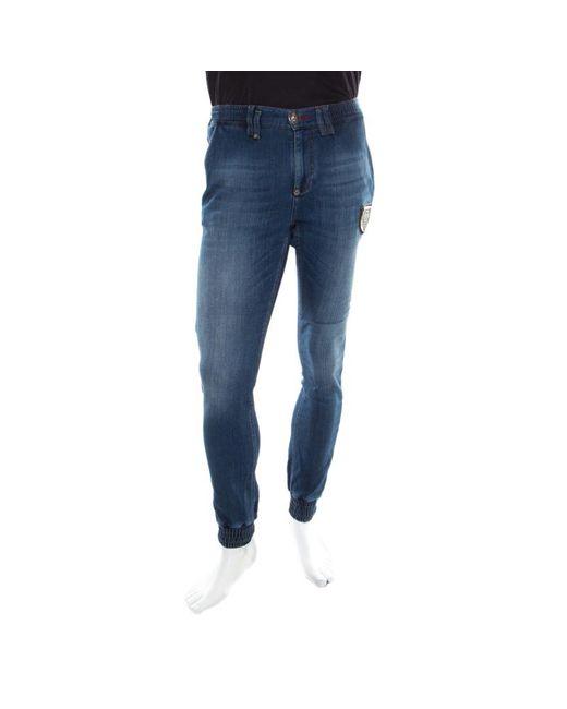 Philipp Plein Blue Indigo Faded Effect Denim Jogger Style Jeans S for men
