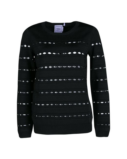 Hervé Léger - Black Knit Cutout Detail Ribbed Trim Bandage Top S - Lyst