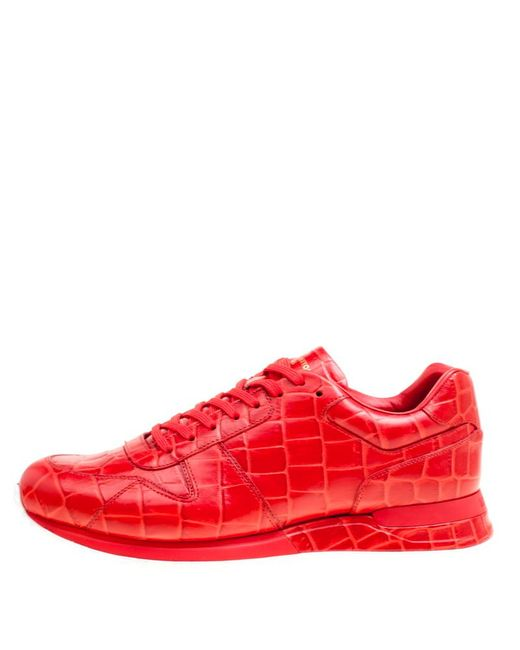 37bc4c047db7 ... Louis Vuitton - Red Croc Embossed Leather Run Away Platform Sneakers  Size 41.5 for Men ...