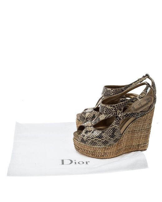 4a17ddb9efb Dior Beige Python Leather Eden Peep Toe Ankle Strap Straw Wedge ...