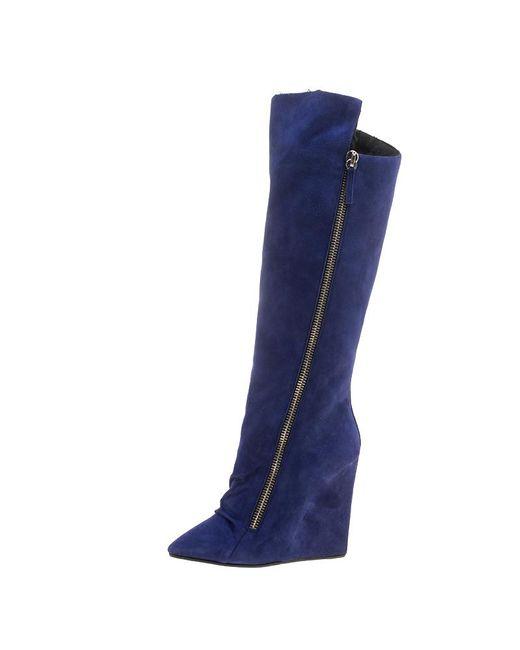 51e1ccee880d ... Giuseppe Zanotti - Blue Suede Guaz Fur Lined Wedge Knee Boots - Lyst ...