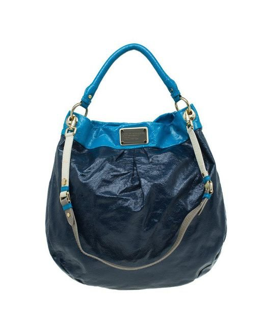 Marc By Marc Jacobs - Blue Bicolor Patent Leather Classic Q Hillier Hobo - Lyst