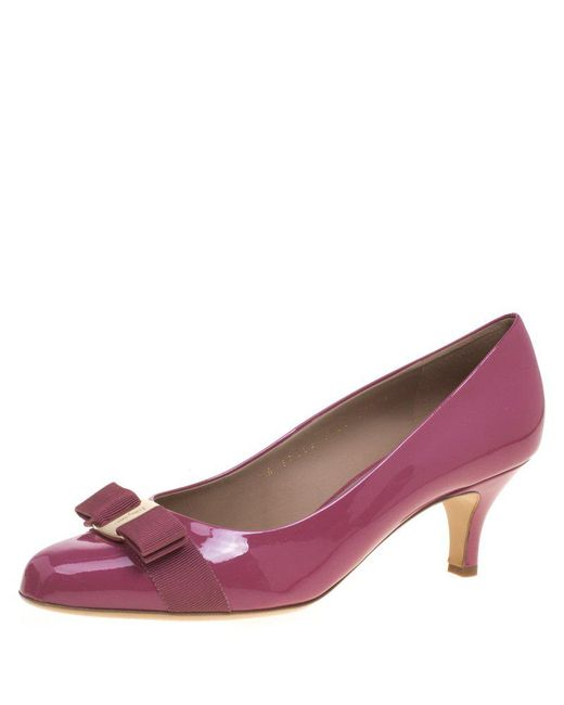 Ferragamo - Pink Rouge Patent Leather Carla Vara Bow Pumps - Lyst