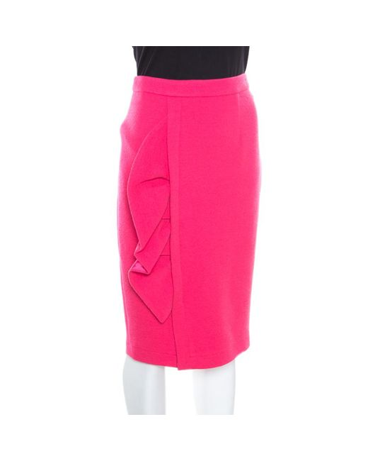 Boutique Moschino - Pink Crepe Side Ruffle Detail Pencil Skirt S - Lyst
