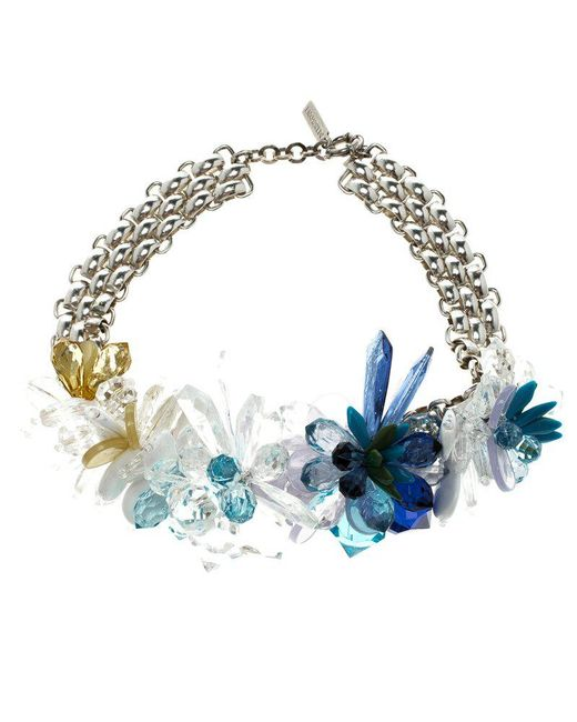 Missoni - Blue Crystal Flower Silver Tone Necklace - Lyst
