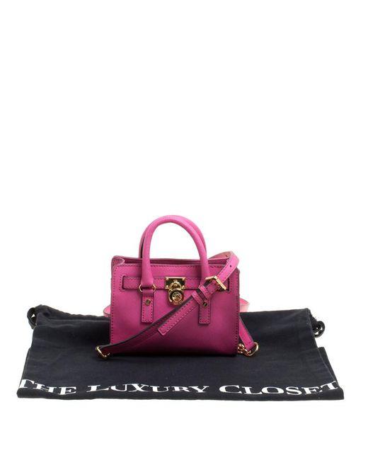 a64562fc3298 ... MICHAEL Michael Kors - Pink Hot Saffiano Leather Mini Hamilton  Crossbody Bag - Lyst ...