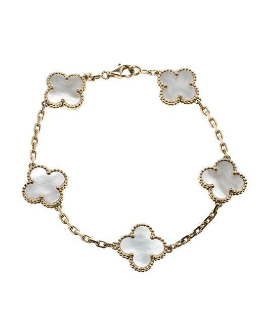 Van Cleef & Arpels - Metallic Vintage Alhambra 5 Motif Mother Of Pearl 18k Yellow Gold Bracelet - Lyst