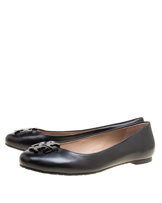 c71d7290c02b4a ... Tory Burch - Black Leather Lowell Ballet Flats - Lyst ...