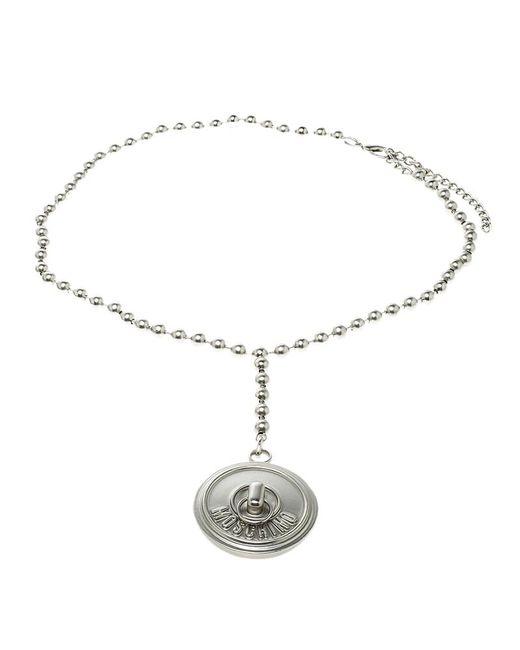 Moschino - Metallic Metal Lock Tone Bead Belt - Lyst
