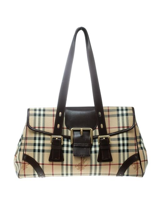 32381f753461 Burberry - Natural  brown Haymarket Check Canvas And Leather Satchel - Lyst  ...