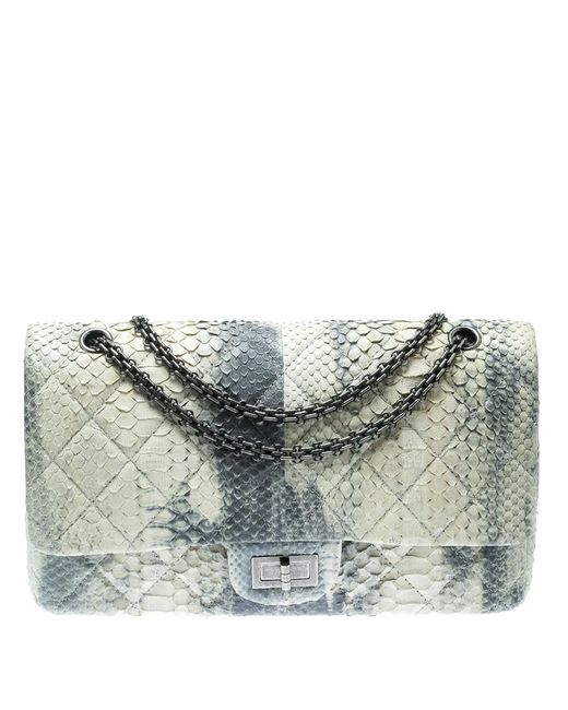 0206fbd807 Chanel - Blue Off White  Quilted Python Reissue 2.55 Classic 227 Flap Bag -  Lyst ...