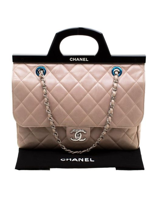 38b5fe54d31674 ... Chanel - Blush Pink/black Quilted Leather Cc Delivery Small Shoulder Bag  - Lyst ...