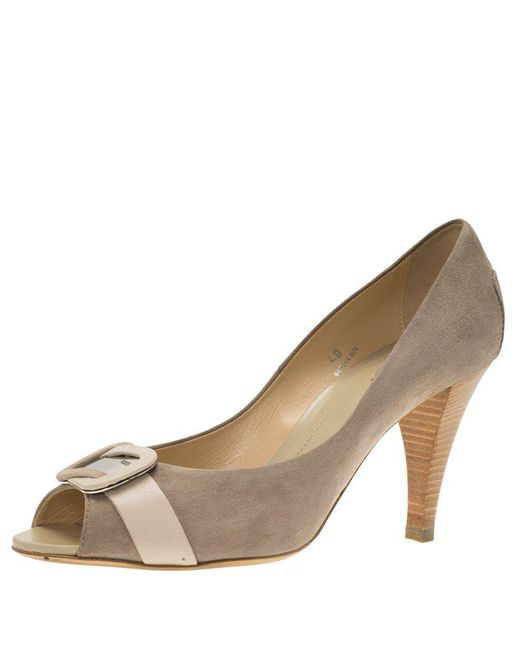 Tod's - Natural Suede Buckle Peep Toe Pumps - Lyst