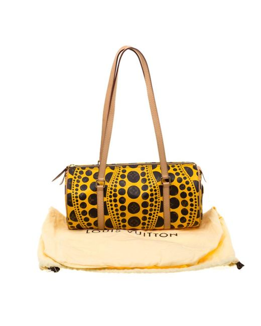 4104f14439bc ... Louis Vuitton - Yellow Monogram Canvas Limited Edition Yayoi Kusama  Pumpkin Dots Papillon 30 Bag ...