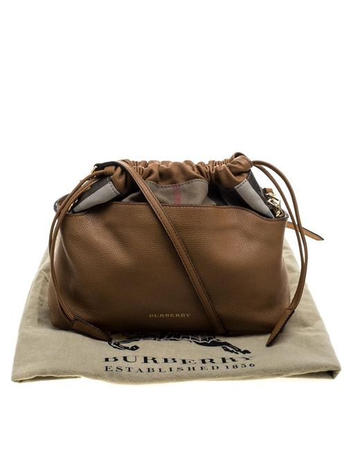 4d96614c2d2a ... Burberry - Brown Camel House Check Canvas And Leather Little Crush  Crossbody Bag - Lyst ...