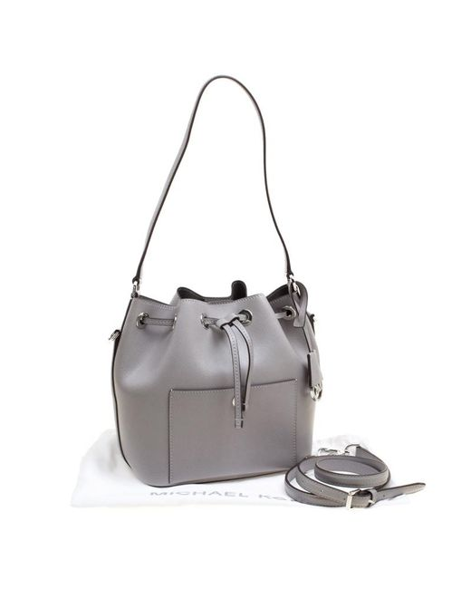 e7b874fbfd01 ... MICHAEL Michael Kors - Metallic Grey Leather Medium Greenwhich Drawstring  Bucket Bag - Lyst ...