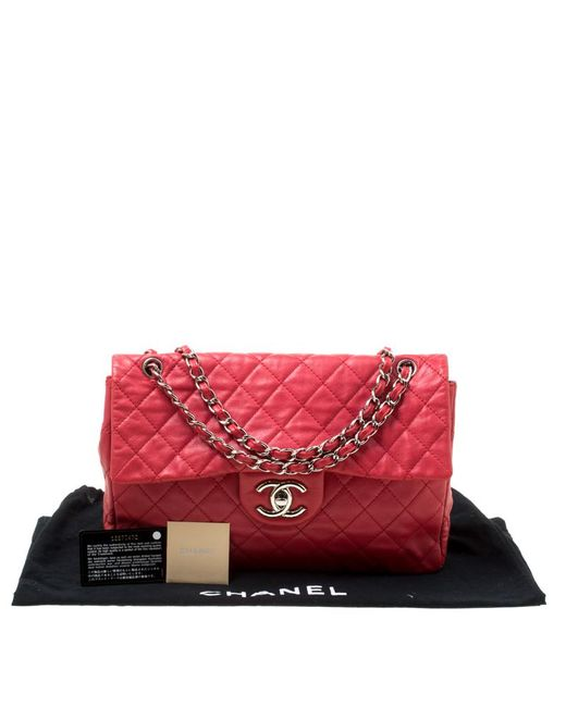 2a93b237 ... Chanel - Red Quilted Caviar Leather Maxi Classic Single Flap Bag - Lyst  ...