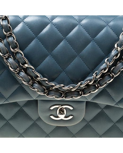 4dcbee385997 ... Chanel - Blue Quilted Leather Jumbo Classic Double Flap Bag - Lyst ...