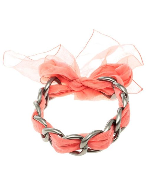 Chanel - Pink Chain Link Fabric Self Tie Choker Necklace - Lyst