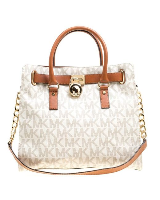 995c2b91d94 MICHAEL Michael Kors - Multicolor  brown Coated Canvas And Leather East  West Hamilton Tote ...