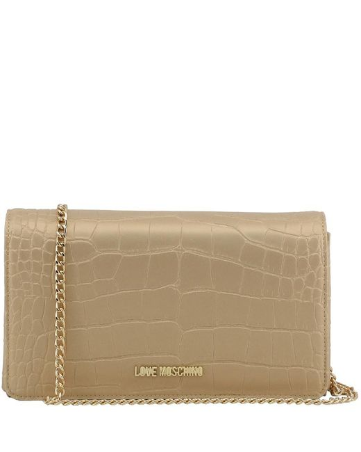 Moschino - Natural Love Croc Embossed Leather Chain Clutch Bag - Lyst ... 3685c505dc