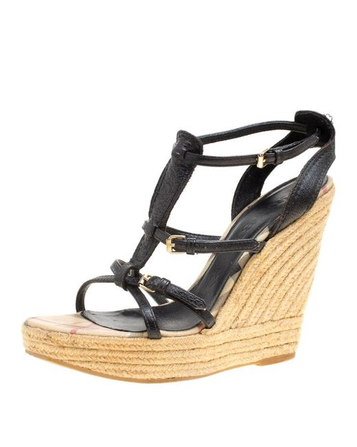 c67c1760527 Burberry - Black Leather Espadrille Wedge Sandals - Lyst ...