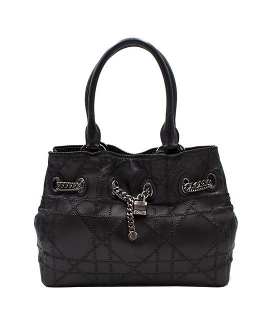 Dior - Black Woven Cannage Quilted Leather Padlock Tote - Lyst