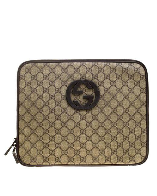 9fa17000cc7d Gucci - Natural GG Supreme Canvas Interlocking GG Netbook Case for Men -  Lyst ...