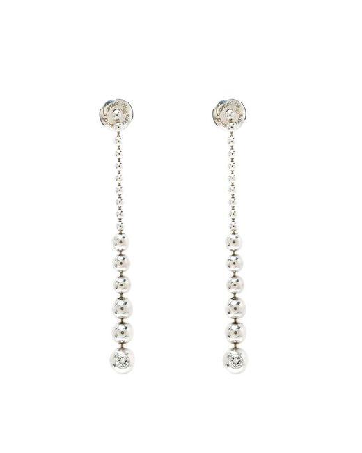 Cartier - Metallic Diamond & 18k White Gold Graduating Ball Bead Drop Long Earrings - Lyst