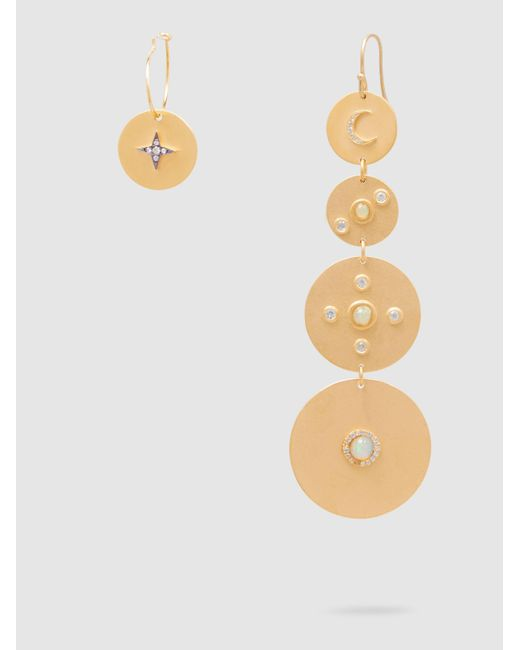 Ileana Makri | Metallic Gold-plated Sapphire And Opal Earrings | Lyst