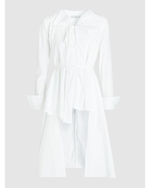 Palmer//Harding - White Asymmetric Pleated Stretch-cotton Shirt - Lyst