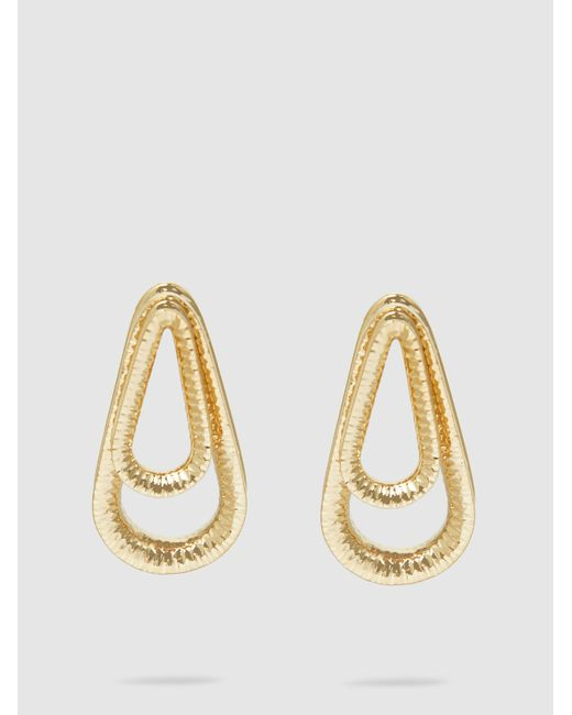 Annelise Michelson - Metallic Ellipse Hammered Gold-tone Hoop Earrings - Lyst