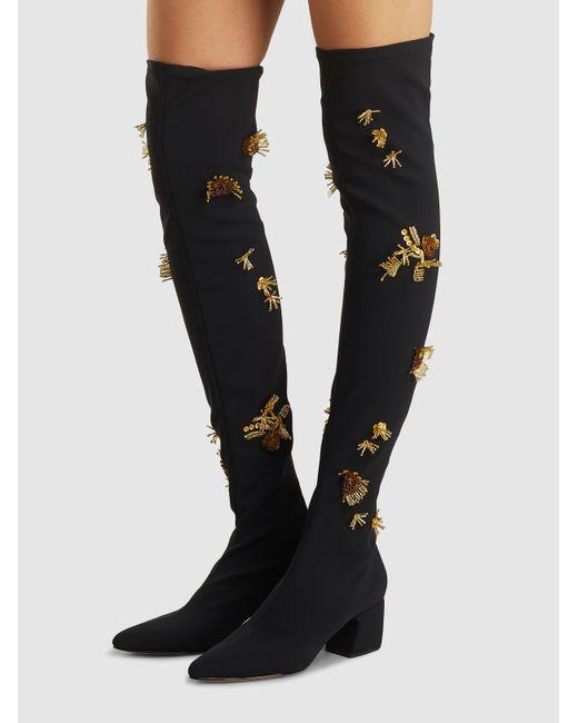 521b9bd7a137 ... Rachel Comey - Black Hawks Embroidered Thigh High Neoprene Boots - Lyst  ...