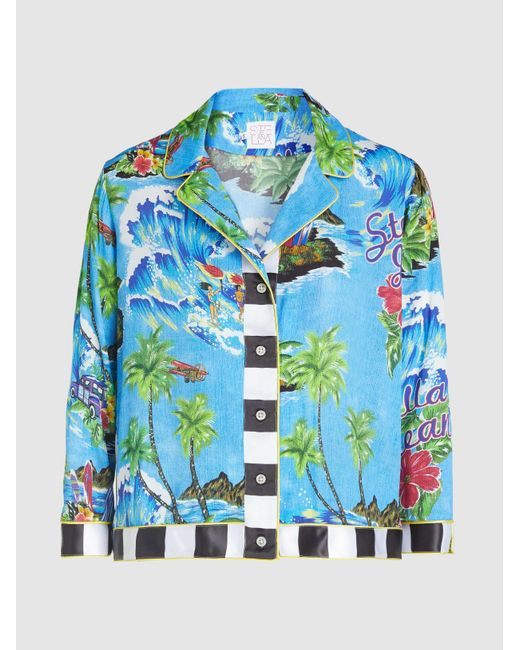 6c7171d8 Stella Jean - Blue Hawaiian Print Cropped Button-up Organic Cotton Bowling  Shirt - Lyst ...