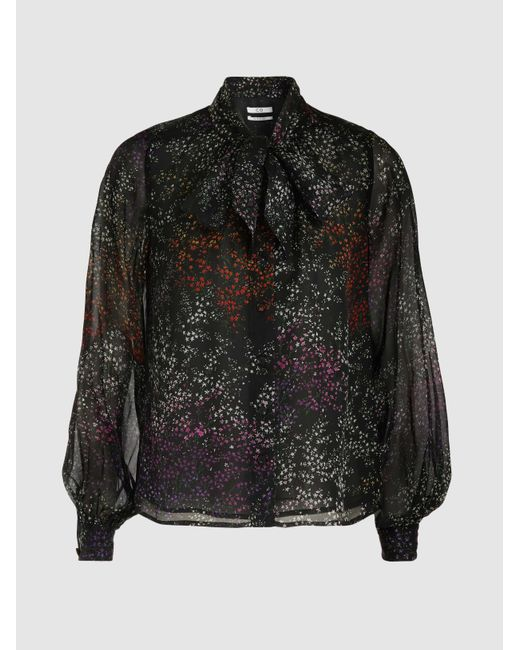 Co. - Black Floral-print Silk-chiffon Blouse - Lyst