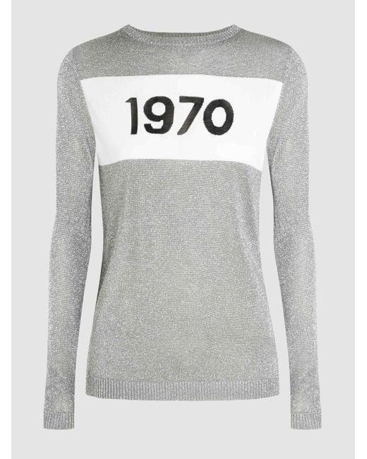 Bella Freud - Gray 1970 Intarsia Metallic-knit Sweater - Lyst