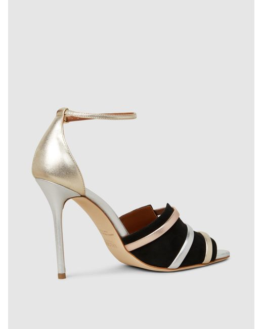 MALONE SOULIERS Zola Metallic Leather and Suede Sandals nHywLRkeD