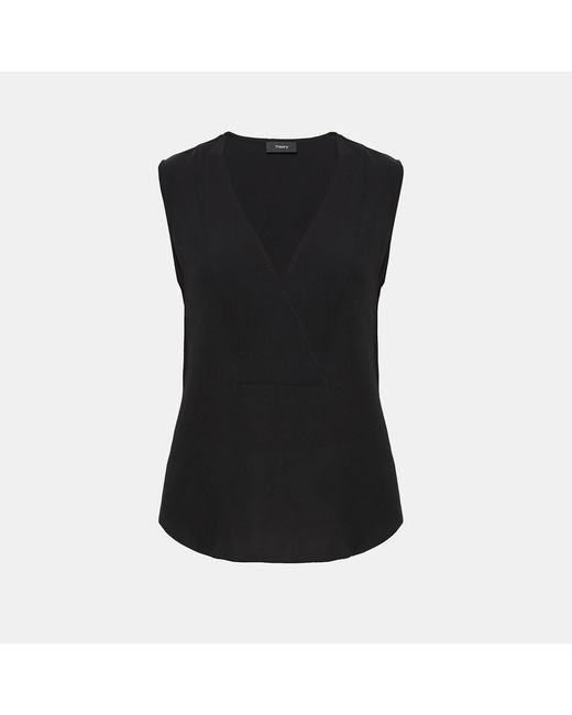 Theory - Black Silk Crossover Top - Lyst