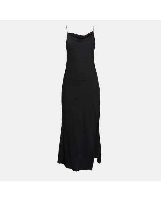 Theory - Black Silk Draped Back Maxi Dress - Lyst