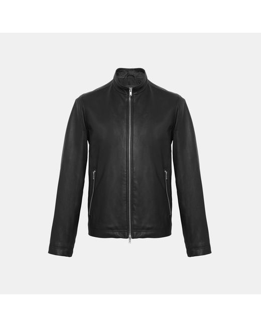 Theory - Black Leather Zip Jacket for Men - Lyst