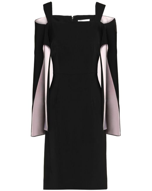 Mikael Aghal - Black Cold-shoulder Two-tone Cady Dress - Lyst