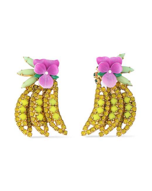 Elizabeth Cole - Yellow Gold-tone, Crystal, Stone And Enamel Earrings - Lyst