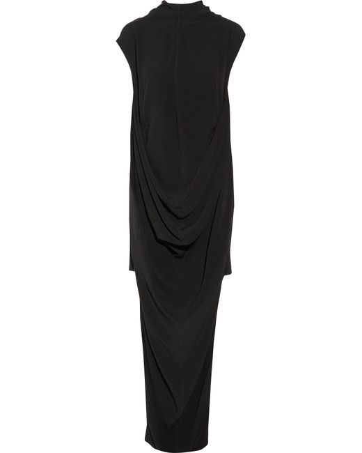 Rick Owens | Black Seahorse Draped Crepe Dress | Lyst