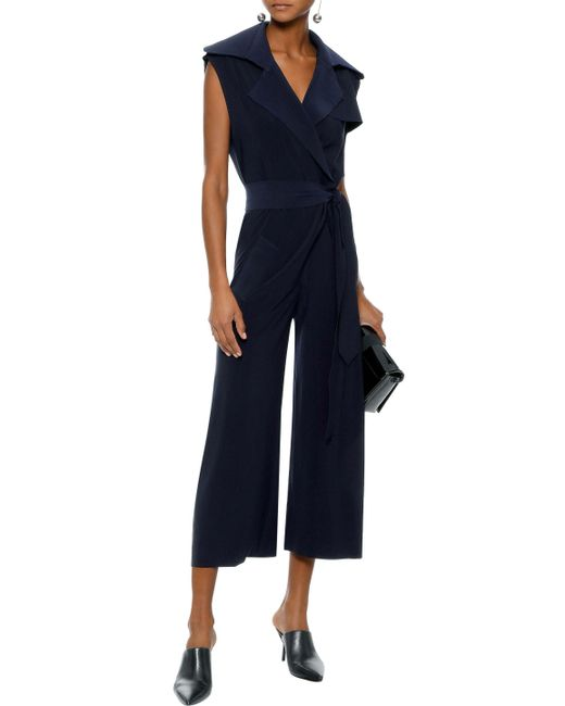 d99928461ef Lyst - Norma Kamali Woman Cropped Wrap-effect Voile Jumpsuit ...