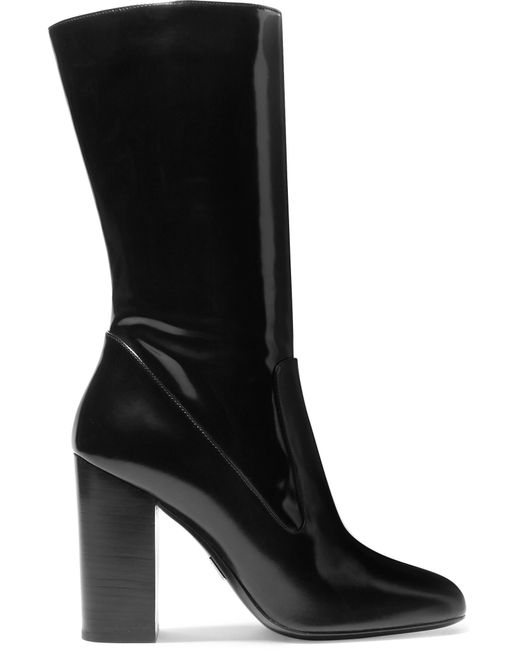 Michael Kors | Black Agatha Glossed-leather Boots | Lyst